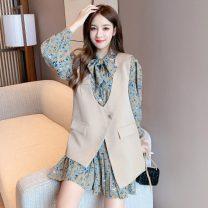 Pajamas / housewear set Parenting S,M,L,XL Individual vest, individual dress, Vest + skirt suit Polypropylene fiber Long sleeves Crew neck Short skirt