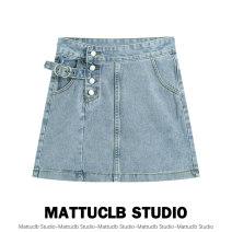 skirt Spring 2021 S,M,L,XL wathet Short skirt High waist A-line skirt 18-24 years old