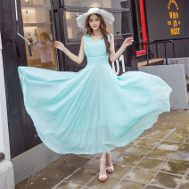 Dress Spring 2017 Sky blue, light blue, white, pink, green, blue, yellow, black, random bags S,M,L,XL,2XL,3XL,4XL,5XL singleton  Sleeveless commute V-neck middle-waisted Big swing 18-24 years old Type X Other / other 31% (inclusive) - 50% (inclusive) Chiffon polyester fiber