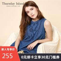 Dress Summer 2017 S XS M Short skirt singleton  Sleeveless commute Crew neck Solid color Socket 25-29 years old THURSDAY ISLAND Korean version More than 95% cotton Cotton 100%