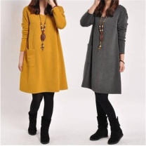 Dress Autumn of 2018 Yellow, gray, brown M suggested 90-115 Jin, l suggested 115-130 Jin, XL suggested 130-145 Jin, 2XL suggested 145-160 Jin, 3XL suggested 160-175 Jin Mid length dress singleton  Long sleeves commute Crew neck middle-waisted Solid color Socket A-line skirt routine Others pocket