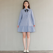 Dress Autumn 2020 Yellow, blue S,M,L,XL,2XL Mid length dress singleton  Long sleeves commute Polo collar lattice Single breasted Pleated skirt routine literature Bows, pockets, straps, buttons 31% (inclusive) - 50% (inclusive) cotton