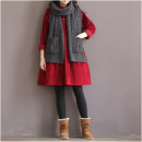 Dress Autumn 2020 Red, blue, yellow S,M,L,XL,2XL Middle-skirt singleton  Long sleeves commute Doll Collar Loose waist Solid color Single breasted A-line skirt routine Type H literature Button 91% (inclusive) - 95% (inclusive) corduroy cotton