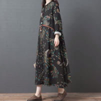 Dress Autumn 2020 Picture color M,L,XL,2XL Mid length dress singleton  Long sleeves commute stand collar Loose waist Decor Single breasted other Type A Korean version printing 71% (inclusive) - 80% (inclusive) cotton
