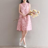 Dress Summer 2021 M,L,XL,2XL Mid length dress singleton  Sleeveless commute stand collar Loose waist Decor Socket A-line skirt routine Type A Retro 51% (inclusive) - 70% (inclusive) cotton