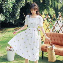 Dress Summer 2020 white S,M,L,XL Mid length dress singleton  Short sleeve Sweet square neck middle-waisted Decor A-line skirt other Others 18-24 years old Type A 51% (inclusive) - 70% (inclusive) other Mori