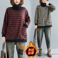 Women's large Winter of 2019, autumn of 2019 Black, red Large, large, large T-shirt singleton  commute easy thickening Socket Long sleeves lattice Korean version High collar Medium length cotton Collage routine 81% (inclusive) - 90% (inclusive) other