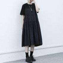 Dress Summer 2021 black Average size Mid length dress singleton  Short sleeve commute Crew neck Elastic waist Pleated skirt routine Others Type H Retro More than 95% other other