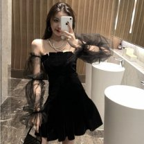 Dress Autumn 2020 black S,M,L,XL,2XL Short skirt singleton  Long sleeves commute One word collar Elastic waist Solid color A-line skirt Sleeve Breast wrapping 18-24 years old Type H Korean version