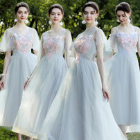 Dress / evening wear Wedding, adulthood, party, company annual meeting, performance, routine, appointment Average size (85-105 kg), large size (105-130 kg), large size (128-150 kg), 2XL (145-180 kg) fashion longuette High waist Summer of 2019 Pleats Deep collar V Deep V style Netting 18-25 years old