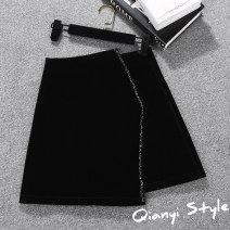 skirt Spring 2021 black Short skirt Versatile High waist A-line skirt Solid color Type A 18-24 years old Diamond, zipper