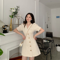 Dress Summer 2021 Light beige apricot S,M,L Middle-skirt singleton  Short sleeve commute V-neck middle-waisted Solid color Single breasted A-line skirt puff sleeve 18-24 years old Type A Korean version 81% (inclusive) - 90% (inclusive) other