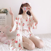 Pajamas / housewear set female Other / other One size fits all, XXS pre-sale Strawberry three piece set, litchi three piece set other Sweet pajamas summer youth 3 pieces