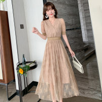 Dress Summer 2021 Khaki, black S,M,L,XL Mid length dress singleton  Short sleeve commute V-neck Loose waist Decor Socket Big swing routine Others 18-24 years old Type A Yunuo lady Cut out, lace 81% (inclusive) - 90% (inclusive) Lace polyester fiber