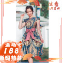 Dress Summer of 2019 Malachite blue M,XL singleton  Short sleeve commute High waist Abstract pattern zipper raglan sleeve ethnic style A1886 other