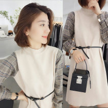 Dress Autumn 2020 Apricot S,M,L Mid length dress singleton  Long sleeves commute Crew neck Socket A-line skirt routine Others 30-34 years old Type H Fanlis Korean version Splicing F194t06849p More than 95% acrylic fibres