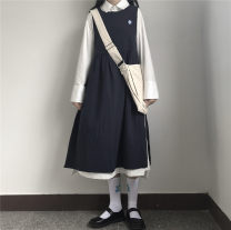 Dress Autumn 2020 White dress, blue vest skirt (with flowers on the chest) Average size Mid length dress Two piece set Long sleeves commute Crew neck High waist Solid color Socket A-line skirt routine Others 18-24 years old Type A Other / other Three dimensional decoration, bandage other