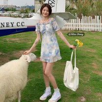 Dress Summer 2021 Long, short Average size Mid length dress singleton  Short sleeve commute One word collar High waist Socket A-line skirt Others 18-24 years old Type A Other / other Korean version Frenulum 51% (inclusive) - 70% (inclusive)