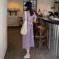 Dress Spring 2021 White, purple Average size Mid length dress singleton  Short sleeve commute Crew neck High waist Solid color Socket A-line skirt bishop sleeve Others 18-24 years old Type A Other / other Korean version bow 51% (inclusive) - 70% (inclusive)