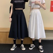 skirt Spring 2021 Average size White, black, white thickening, black thickening Mid length dress commute High waist A-line skirt Solid color Type A 18-24 years old 51% (inclusive) - 70% (inclusive) Other / other cotton Korean version