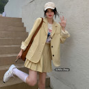 Fashion suit Spring 2021 Average size Grey coat, yellow coat, grey skirt, yellow skirt 18-25 years old Other / other