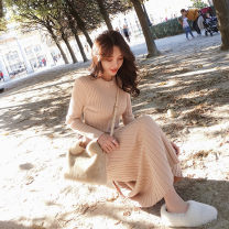 Dress Autumn 2020 Apricot, black S,M,L,XL singleton  Long sleeves commute Crew neck High waist Solid color Socket routine 18-24 years old Other / other Korean version knitting polyester fiber