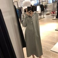 Dress Autumn 2020 Grey, black, bean green S,M,L,XL,2XL Mid length dress singleton  Long sleeves commute 18-24 years old Korean version 31% (inclusive) - 50% (inclusive) other