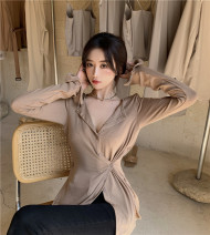 T-shirt Army green, grey, coffee Average size Autumn 2020 Long sleeves V-neck Self cultivation Regular routine commute cotton 51% (inclusive) - 70% (inclusive) 25-29 years old Solid color