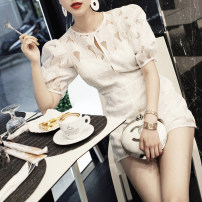 Dress Summer of 2018 White 3rd batch in stock S,M,L Middle-skirt singleton  Short sleeve commute Crew neck Solid color routine Others 25-29 years old Type H BettyChow lady Lace polyester fiber