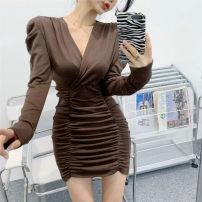 Dress Autumn 2020 Brown, black, dark grey Average size Short skirt singleton  Long sleeves commute V-neck High waist Solid color Socket other puff sleeve Others Korean version cotton