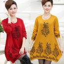 Middle aged and old women's wear Winter 2016, autumn 2016 ethnic style sweater easy singleton  Flower and bird pattern Conjoined moderate Crew neck Medium length routine Monroembes Embroidery other 31% (inclusive) - 50% (inclusive) Ruffle Skirt