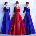 Dress / evening wear Wedding, adulthood, party, company annual meeting, routine, date Blue, red fashion longuette High waist Spring 2021 Fall to the ground Deep collar V zipper spandex flower routine