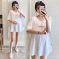 Dress Other / other White, light grey, black M,L,XL,XXL Korean version Short sleeve Medium length summer V-neck letter cotton