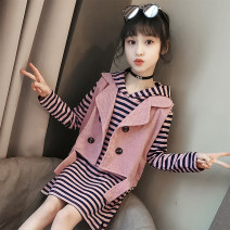 suit Other / other Yellow, pink, pink skirt + black leggings, yellow skirt + black leggings, pink skirt + gray leggings, yellow skirt + gray leggings female spring and autumn Korean version other 2 pieces routine There are models in the real shooting Socket No detachable cap Solid color children