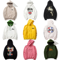 Sweater / sweater Winter of 2018 M,L,XL,2XL Long sleeves routine Socket singleton  Plush Hood easy street routine letter 18-24 years old 96% and above Western snails cotton Kangaroo pocket, paint splash, patch, pocket, printing, thread, drawstring cotton Cotton liner Europe and America