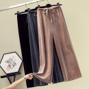 Women's large Summer 2021 Black, dark grey, apricot, khaki L [100-120 Jin recommended], XL [120-140 Jin recommended], 2XL [140-160 Jin recommended], 3XL [160-180 Jin recommended], 4XL [180-200 Jin recommended] trousers singleton  commute Straight cylinder moderate Solid color Korean version other