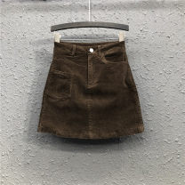 skirt Summer 2021 S,M,L,XL Brown, apricot, black, army green Short skirt commute High waist A-line skirt Solid color Type A 25-29 years old Y19H2547 71% (inclusive) - 80% (inclusive) corduroy Ocnltiy cotton pocket Simplicity