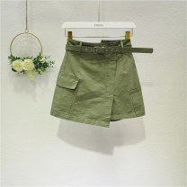 skirt Summer 2021 S,M,L,XL,2XL Army green, white, black, brick red Short skirt Versatile High waist Irregular Solid color Type A 18-24 years old Y192015214 71% (inclusive) - 80% (inclusive) Denim Ocnltiy cotton Pocket, asymmetric, bandage, open line decoration