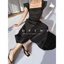 Dress Summer 2021 S,M,L longuette singleton  Sleeveless commute square neck middle-waisted Solid color Socket Ruffle Skirt Flying sleeve straps 25-29 years old Type A lady Ruffle, Ruffle More than 95% other other