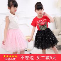 skirt 100cm,110cm,120cm,130cm,140cm,150cm,160cm female Cotton 80% other 20% spring and autumn skirt Korean version Dot Pleats cotton Class B