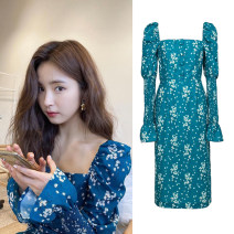 Dress Summer 2021 blue S,M,L Mid length dress singleton  Long sleeves commute square neck High waist Broken flowers other A-line skirt puff sleeve Others 18-24 years old Type A Korean version Ruffles, pleats, open back, print More than 95% Chiffon modal