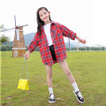 shirt Red, yellow, pink, yellow plush, Pink Plush, red plush Other / other female 120cm,130cm,140cm,150cm,160cm,170cm spring and autumn Long sleeves leisure time lattice Cotton and hemp Lapel and pointed collar Other 100% YMW—20190