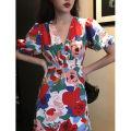 Dress Summer 2020 Petiole S,M,L longuette Short sleeve V-neck other