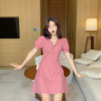 Dress Summer of 2019 S,M,L Short skirt singleton  Short sleeve commute V-neck High waist Solid color Socket A-line skirt other Others 18-24 years old Type A Enigma Korean version Button 71% (inclusive) - 80% (inclusive) polyester fiber