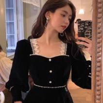 Dress Winter 2020 black XS,S,M,L,XL,2XL Mid length dress singleton  Long sleeves square neck High waist Type A