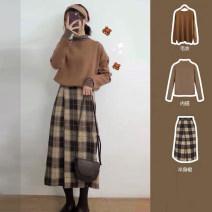 Dress Autumn of 2019 S,M,L,XL Mid length dress Three piece set Long sleeves commute Crew neck High waist lattice Socket A-line skirt routine Korean version zipper