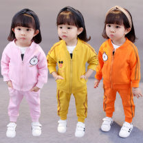 suit Other / other Yellow, orange, pink 80cm,90cm,100cm,110cm female spring and autumn motion Long sleeve + pants 2 pieces routine There are models in the real shooting Zipper shirt nothing Cartoon animation cotton children birthday Class A Cotton 95% polyurethane elastic fiber (spandex) 5%