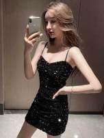 Pajamas / housewear set male Ezrin S,M,L black cotton Sleeveless Solid color Socket Short skirt