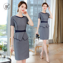 Dress Summer of 2019 Gray, black S,M,L,XL,2XL,3XL Short skirt Fake two pieces Short sleeve commute Crew neck middle-waisted Solid color Socket One pace skirt other Others 25-29 years old Type X J-ME Ol style Q116 81% (inclusive) - 90% (inclusive) polyester fiber