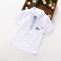 shirt Here you are male 100, 110, 120, 130, 140, 150, 160, 170 summer Short sleeve leisure time Solid color cotton Lapel and pointed collar Cotton 80% other 20% Dot short sleeve - white Class B